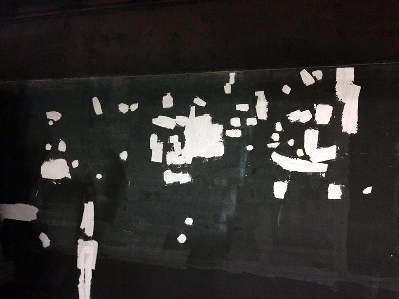 street art ? Réparation du mur sur la ligne du RER A, Chatelet